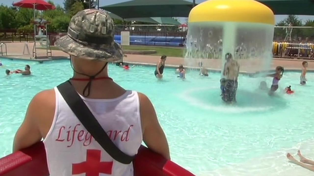 As temperatures rose into the triple digits on June 30, 2015, residents flocked to Brentwood Aquatic Park in Brentwood Calif. to try to beat the heat.