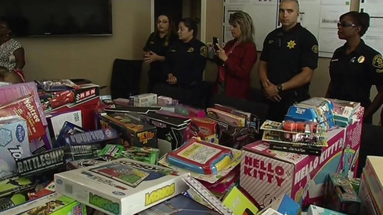 The Alameda County sheriffs deputies donated toys to children hospitalized at the UCSF Benioff Oakland Childrens Hospital June 30, 2015.