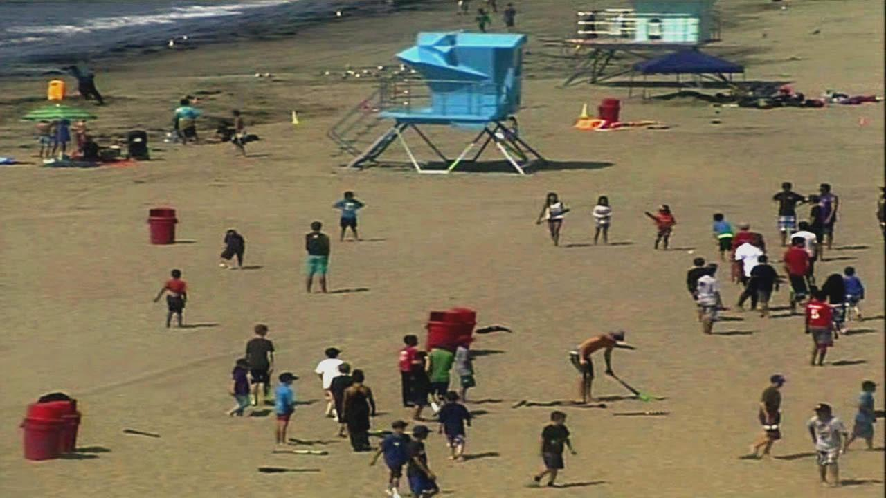 People flocked to the beach in Santa Cruz, Calif. on July 1, 2015 to try to beat the heat.