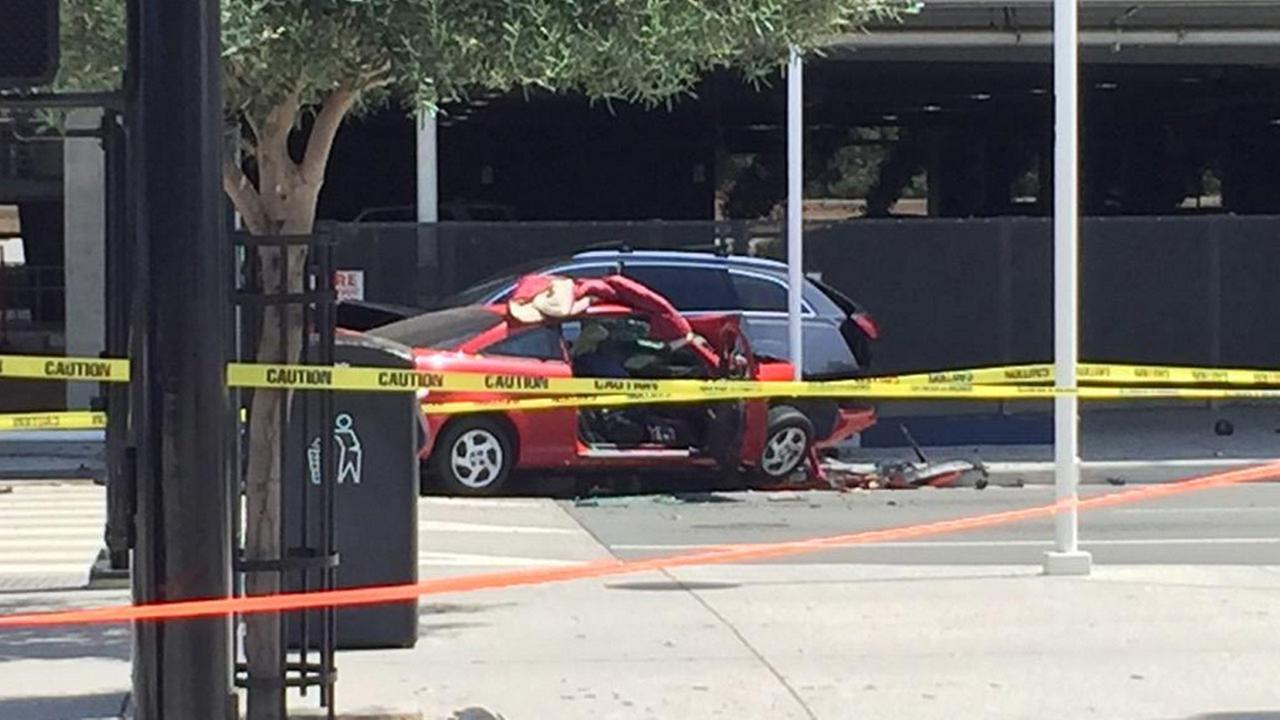 One person died and three were injured in a multi-vehicle crash at Mineta San Jose International Airport in San Jose, Calif. on Wednesday, July 1, 2015.