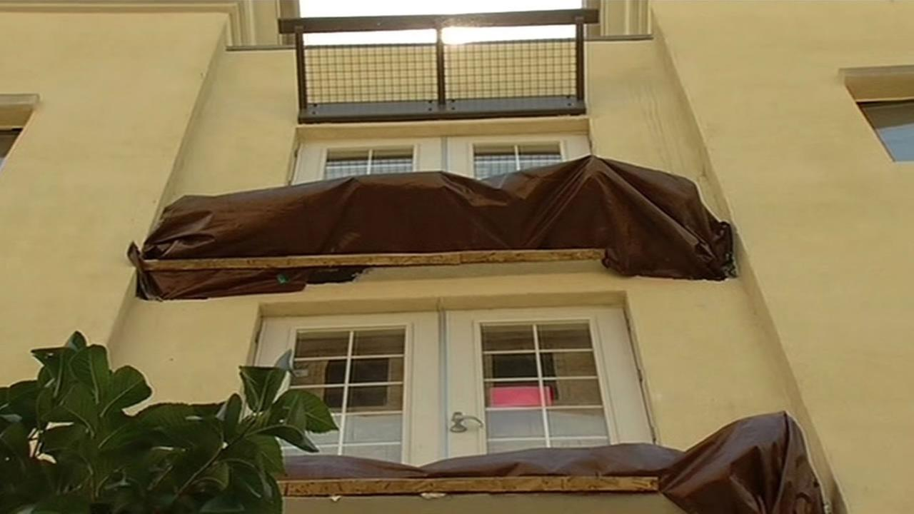 The remains of balcony that collapsed at the Library Gardens apartment complex in Berkeley that killed six people and injured seven, July 2, 2015.