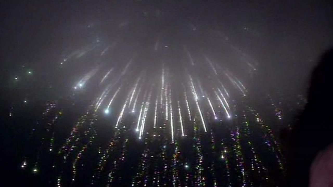 San Franciscos Fourth of July fireworks show on Saturday was half-obscured by the fog.