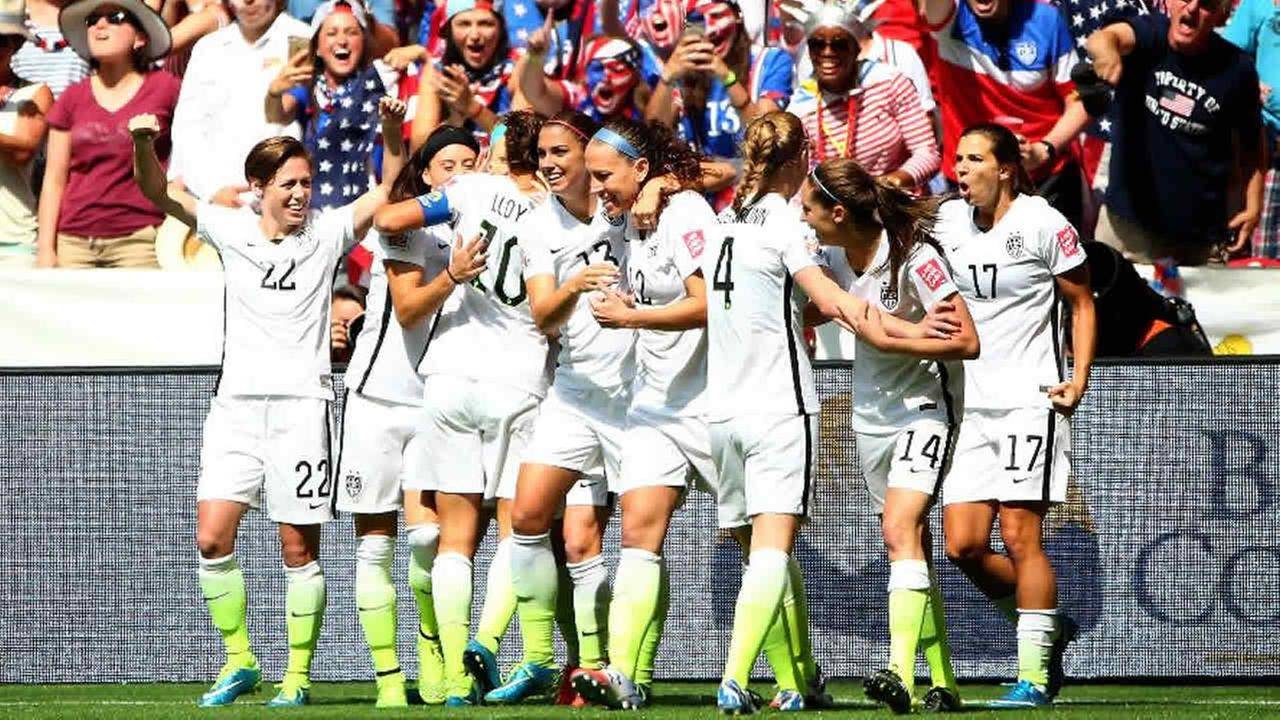 Team USA celebrates during the FIFA Womens World Cup in Vancouver on July 5, 2015.