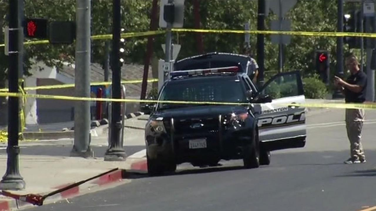 Police say a man was shot and killed during an altercation with an officer in Pleasanton, Calif. on July 5, 2015.