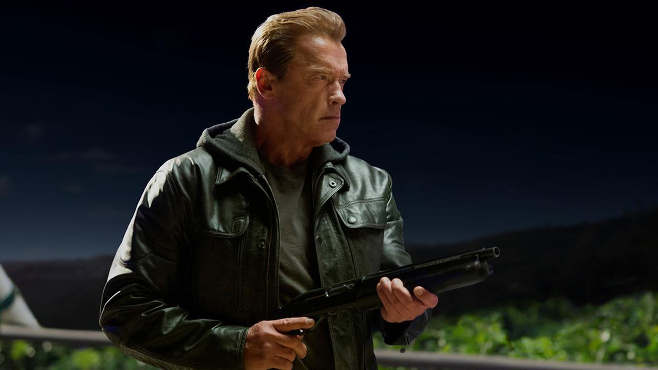 This photo provided by Paramount Pictures shows Arnold Schwarzenegger as the Terminator in Terminator Genisys, from Paramount Pictures and Skydance Productions. (Melinda Sue Gordon/Paramount Pictures via AP)