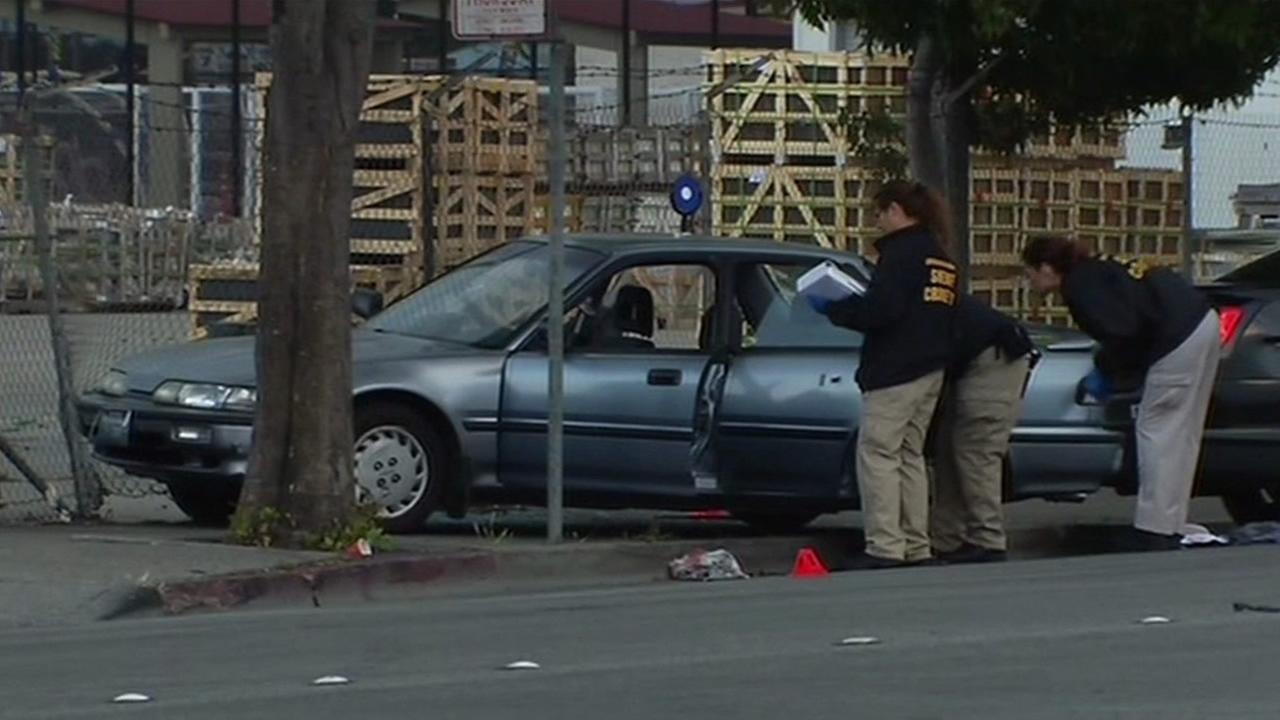The stolen Honda that a juvenile suspect was driving during a police chase on Sunday, July 5, 2015 in San Pablo, Calif.