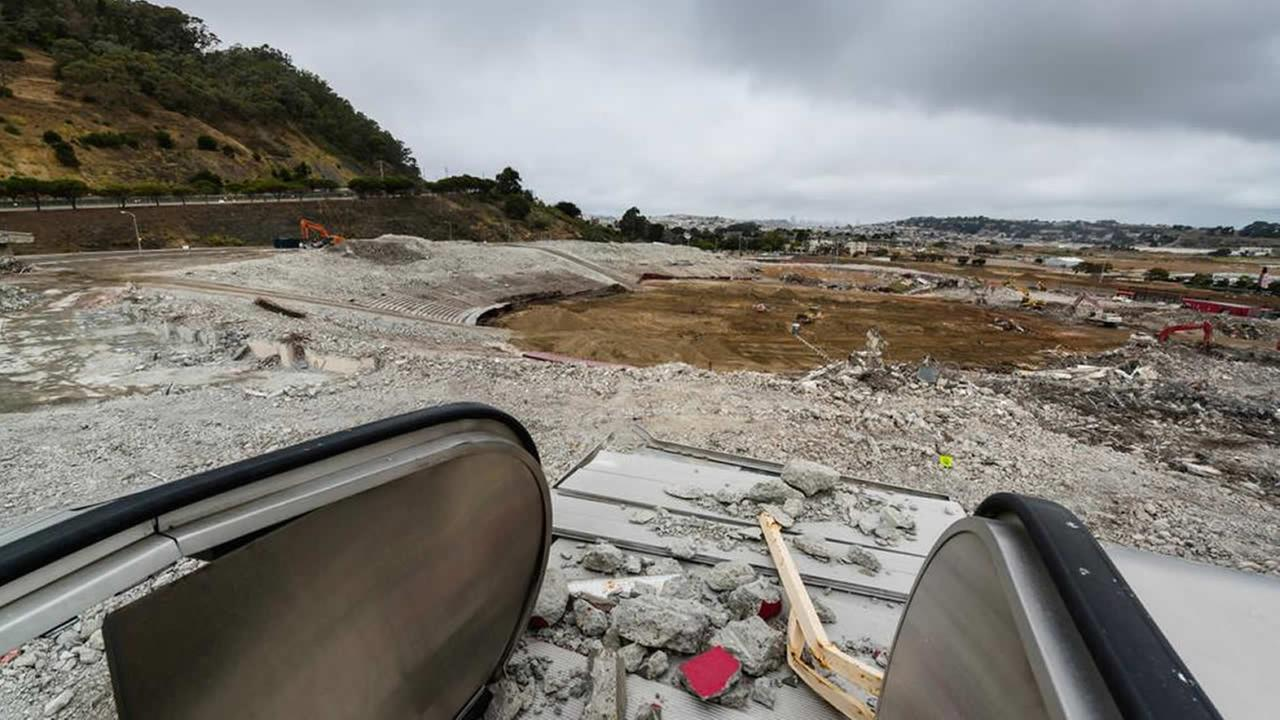 This image taken Thursday, July 9, 2015 shows rubble from a demolished Candlestick Park in San Francisco.KGO-TV/Wayne Freedman