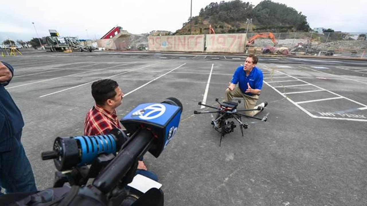 ABC7 News unmanned drone flies for the first time at Candlestick Park in San Francisco on Thursday, July 9, 2015.KGO-TV/Wayne Freedman