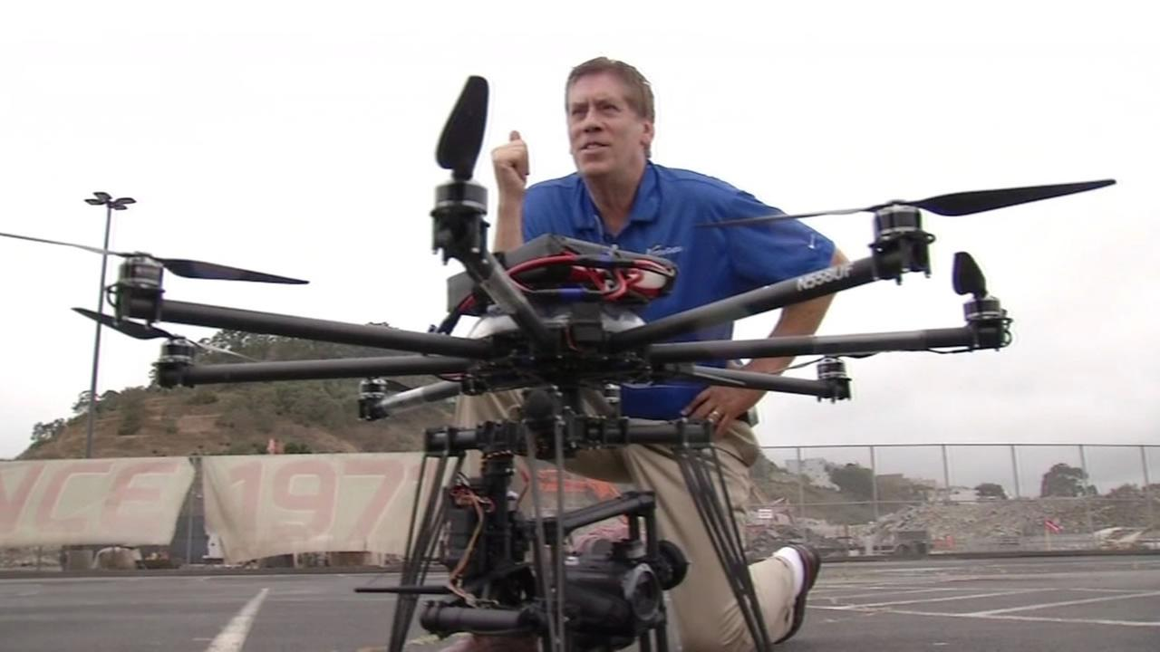 ABC7 News unmanned drone flies for the first time at Candlestick Park in San Francisco on Thursday, July 9, 2015.KGO-TV