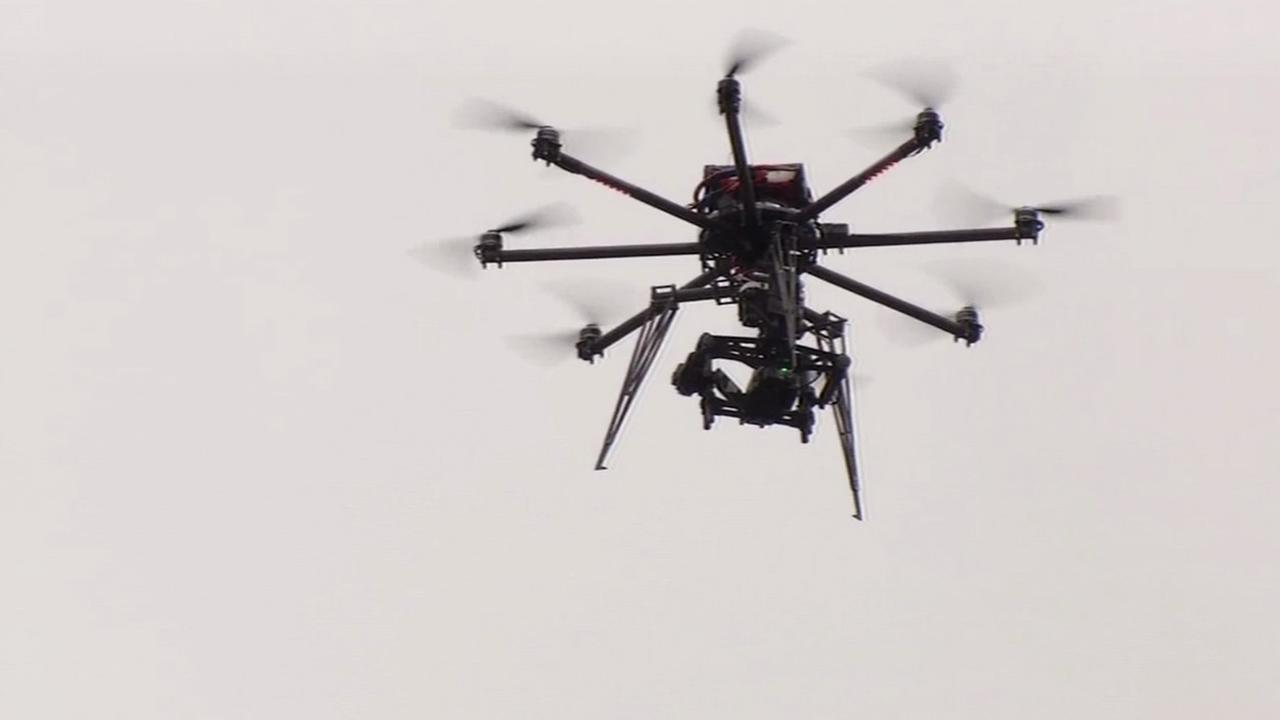 ABC7 News unmanned drone flies for the first time at Candlestick Park in San Francisco on Thursday, July 9, 2015.