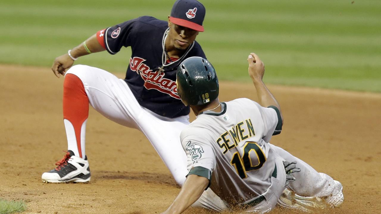 Oakland Athletics Marcus Semien slides into second base