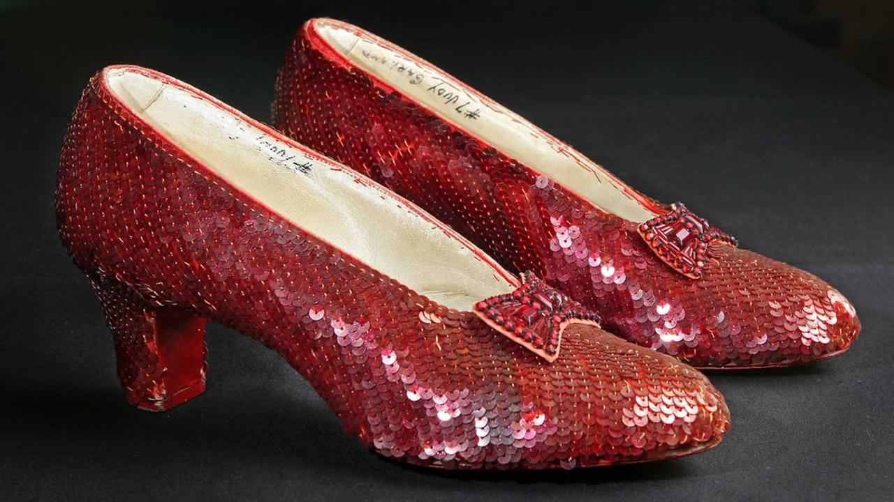 The sequin-covered ruby slippers worn by Judy Garland in The Wizard of Oz in 1939 are seen at the offices of Profiles in History in Calabasas, Calif., Nov. 9, 2011. (AP Photo/Reed Saxon)