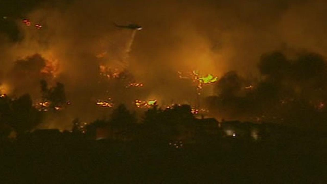 This is a photo of the large flames in San Bruno from Sky7HD.