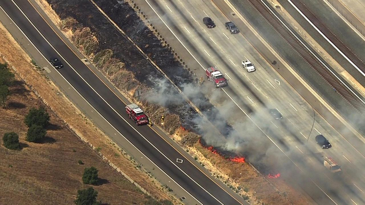 Fire off of Highway 4 in Concord, Monday, July 13, 2015.