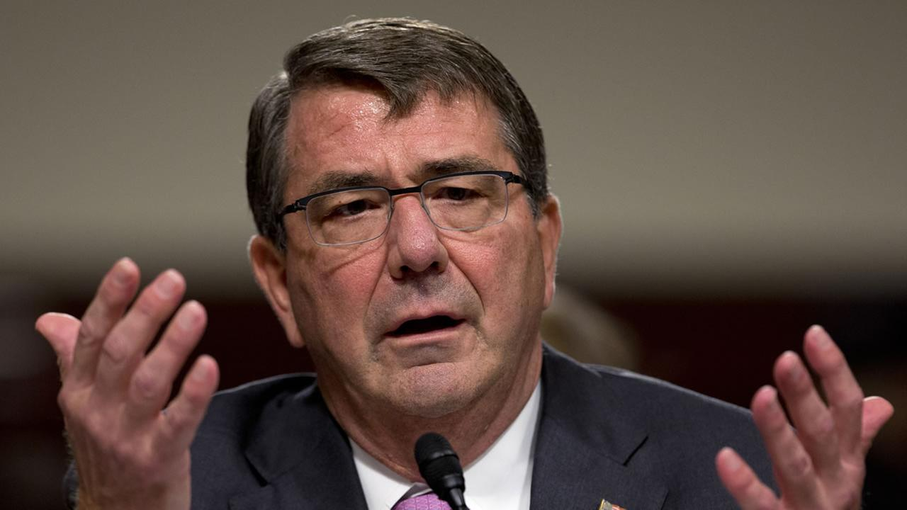 FILE - In this July 7, 2015 photo, Defense Secretary Ash Carter testifies on Capitol Hill in Washington.