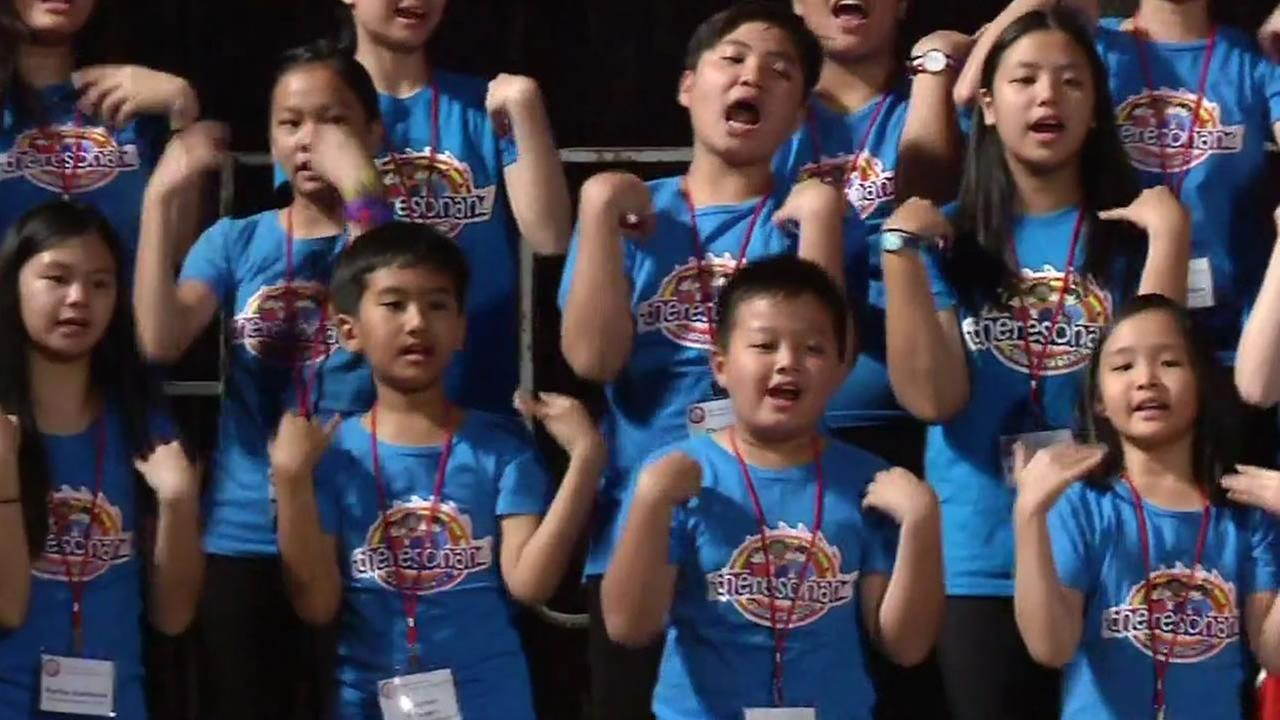 Members of an Indonesian childrens choir practice in Oakland for the Golden Gate International Choral Festival, July 13, 2015.