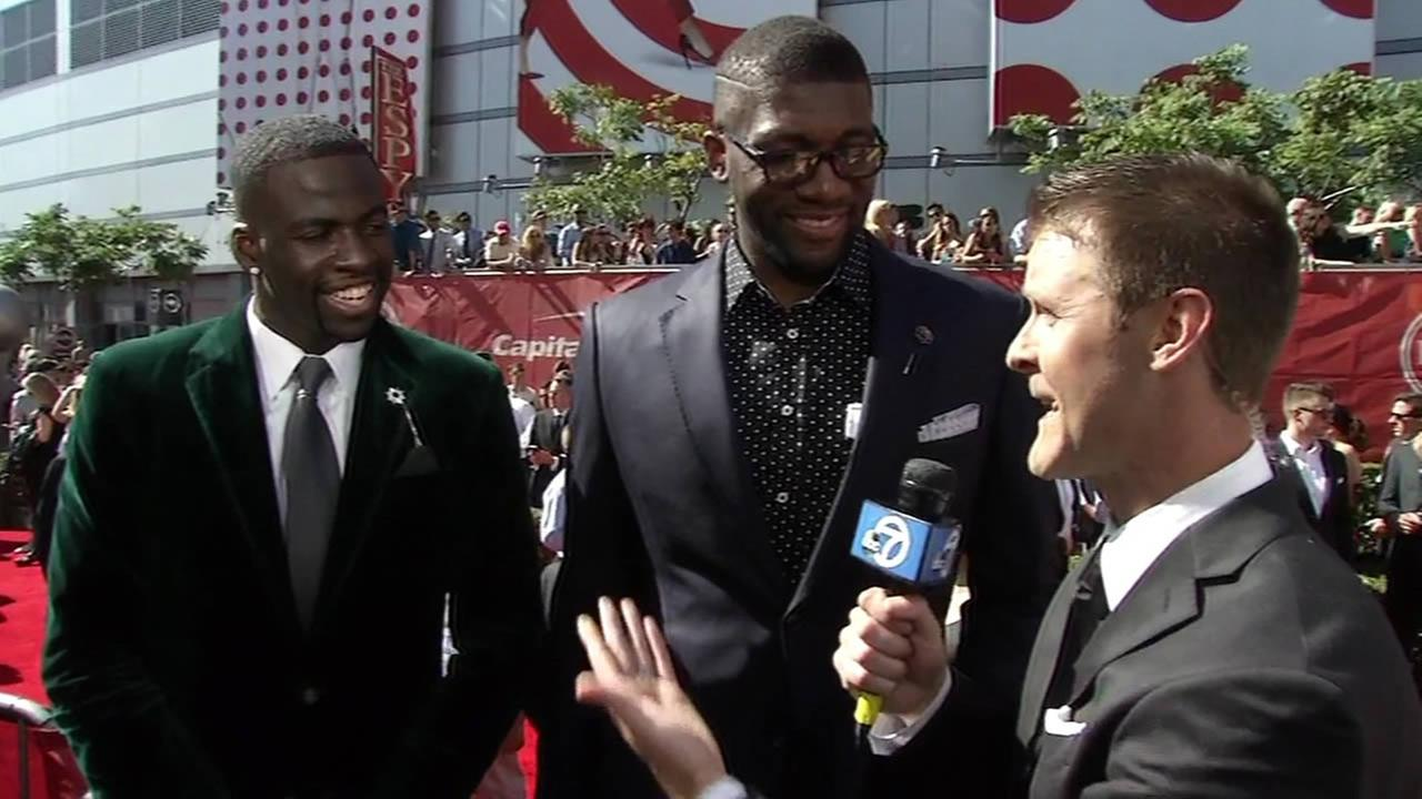 Golden State Warriors stars Draymond Green and Festus Ezeli talk to ABC7 Sports Reporter Colin Resch on the ESPY Awards red carpet in Los Angeles on July 15, 2015.
