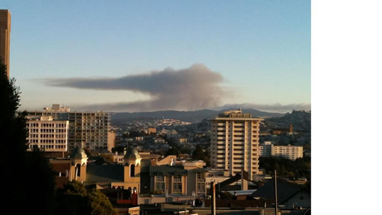 This is a photo of the large flames in San Bruno was submitted by Spencer to uReport. Submit your photos to <a hrefmailto:ureport@kgo-tv.com>uReport@kgo-tv.com</a>, or visit <a hrefhttp://uReport.abc7news.com>uReport.abc7news.com</a>.
