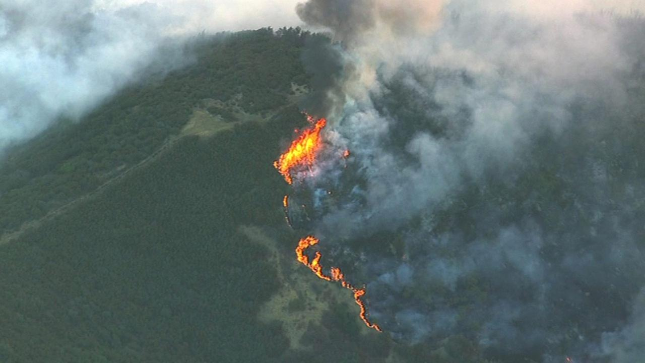 A large fire near Lake Berryessa is threatening structures in the area.KGO-TV