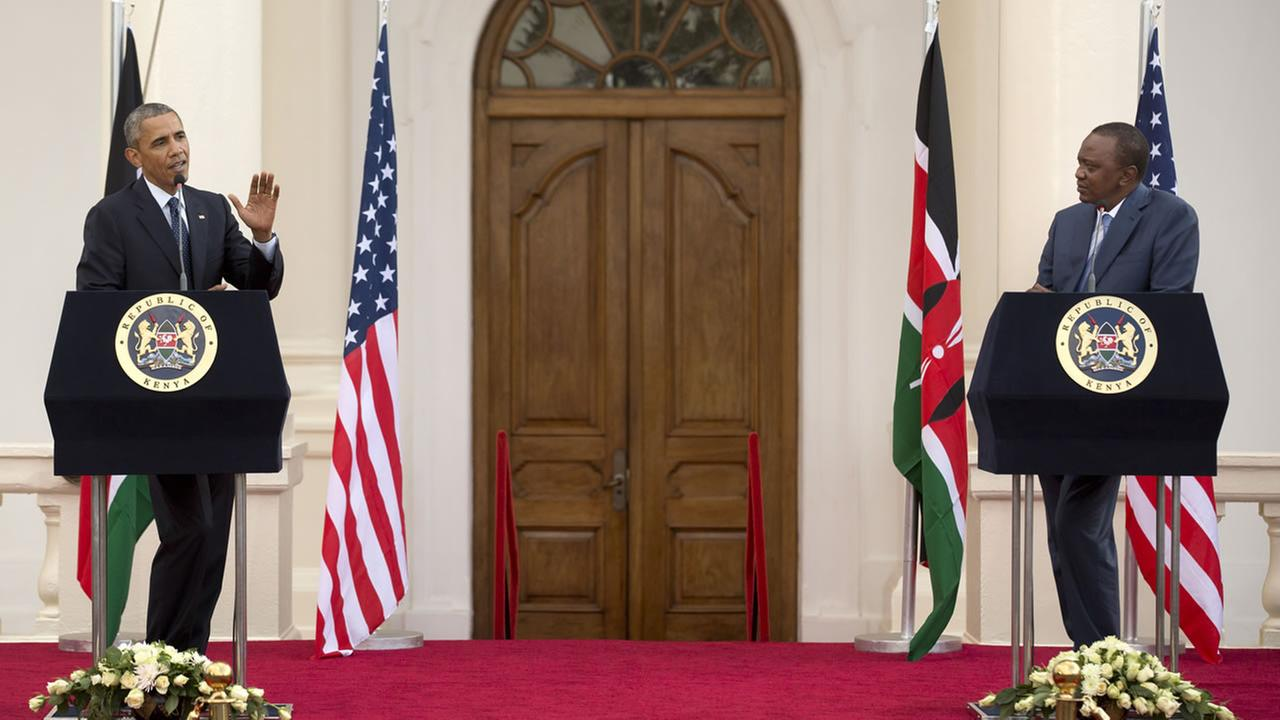 President Barack Obama and Kenyas President Uhuru Kenyatta answer questions from the media after meeting together in State House in Nairobi, Kenya Saturday, July 25, 2015.