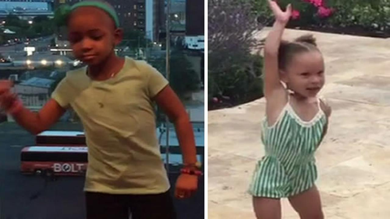 Leah, the daughter of Cincinnati Bengals player Devon Still, challenge Warriors Stephen Currys daughter, Riley, to a dance-off.