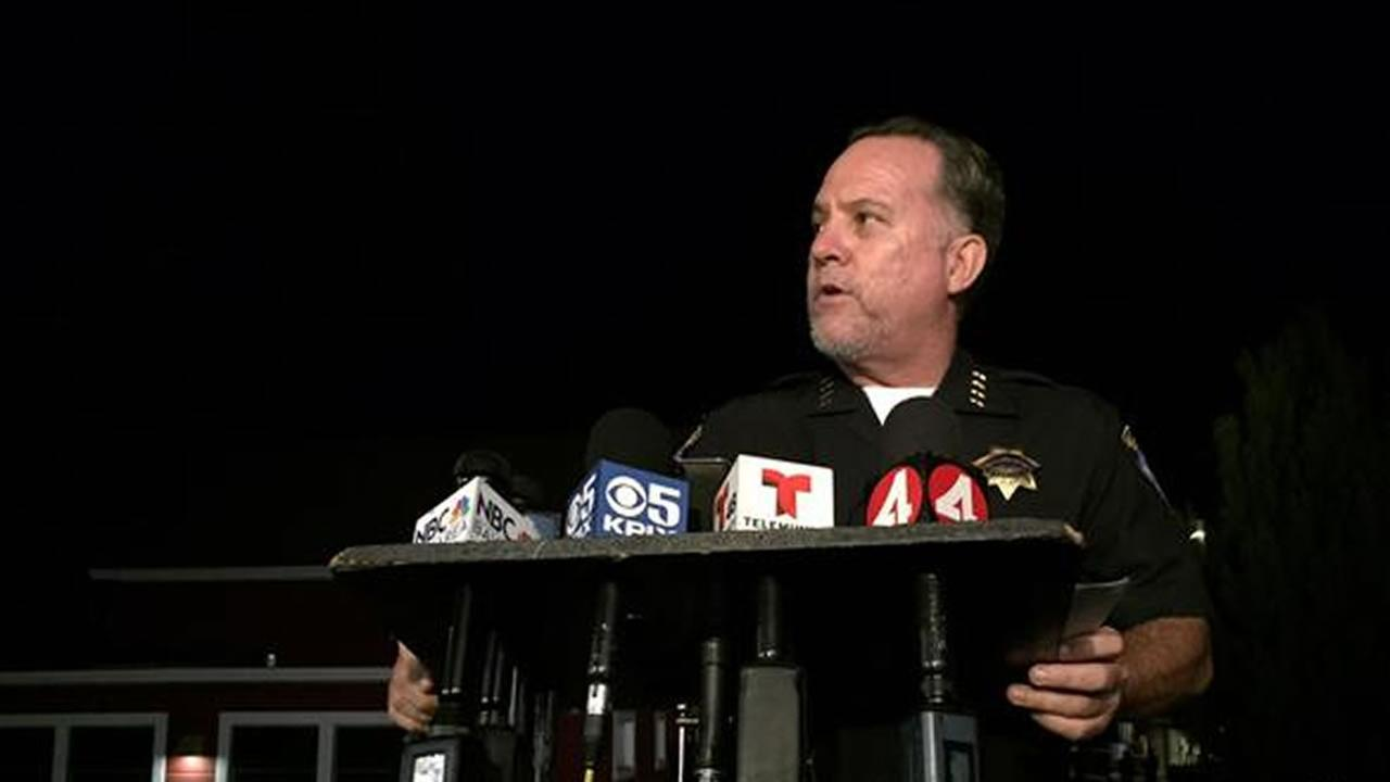 Police Chief Kevin Vogel held a news conference on Monday, July 27, 2015 in Santa Cruz, Calif. after officers discovered the body of a young girl in a dumpster. KGO-TV