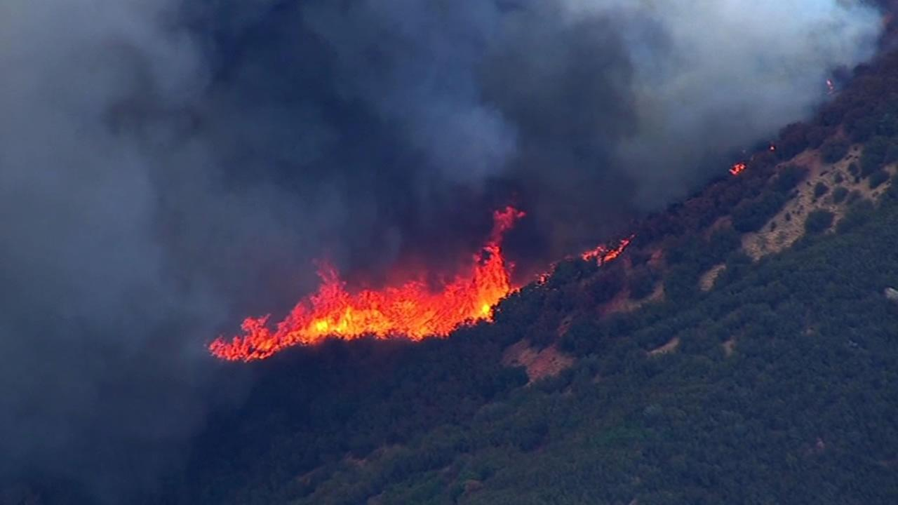 SKY7 HD was over a 150-acre flare-up of the Wragg Fire burning near Lake Berryessa on Tuesday, July 28, 2015.KGO-TV