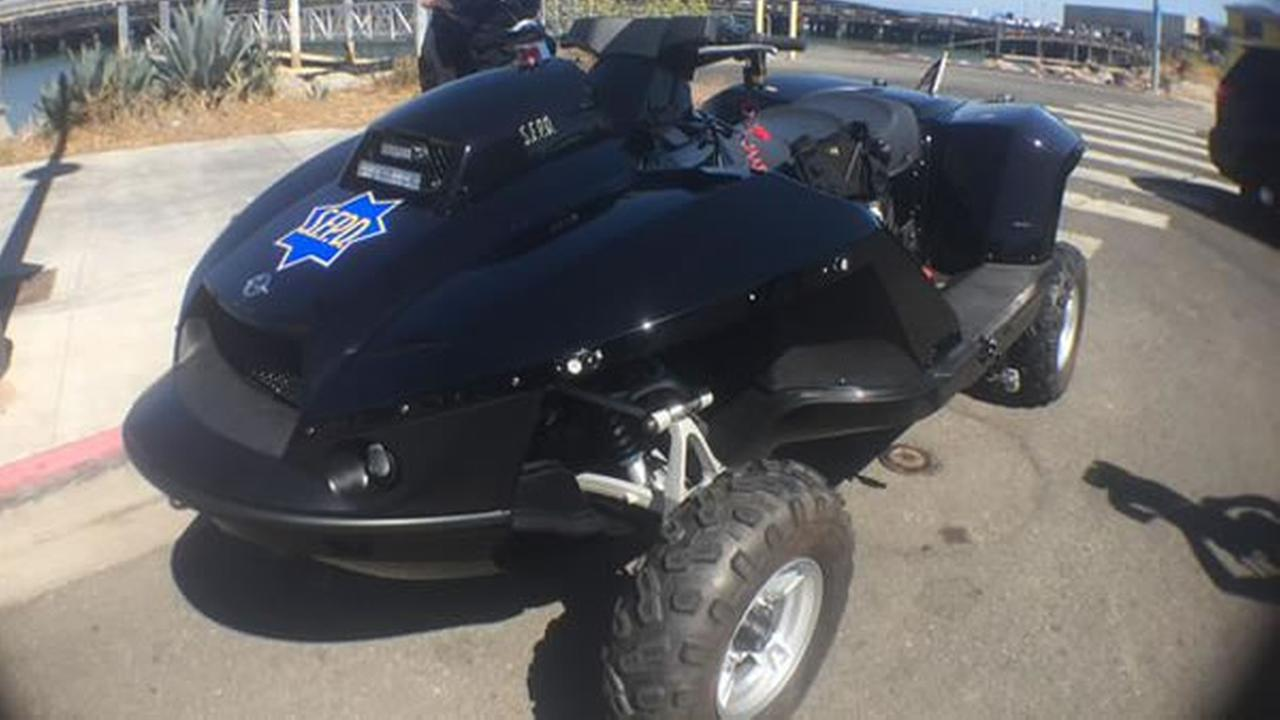 SFPDs new quadski goes way off road. It can turn from an ATV into a jetski with the flip of a switch.