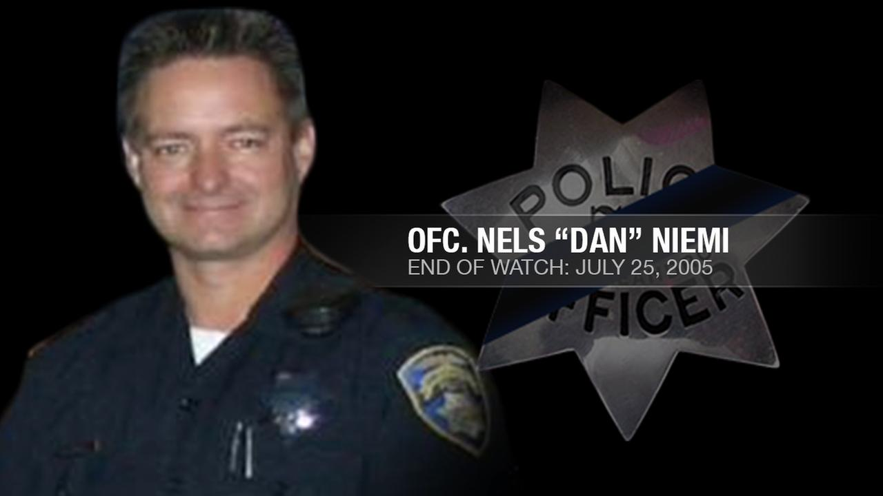 San Leandro Police Officer Nels Dan Niemi, 43, was shot and killed in an ambush attack while investigating a disturbance call in San Leandro, Calif. on July 25, 2005.KGO-TV