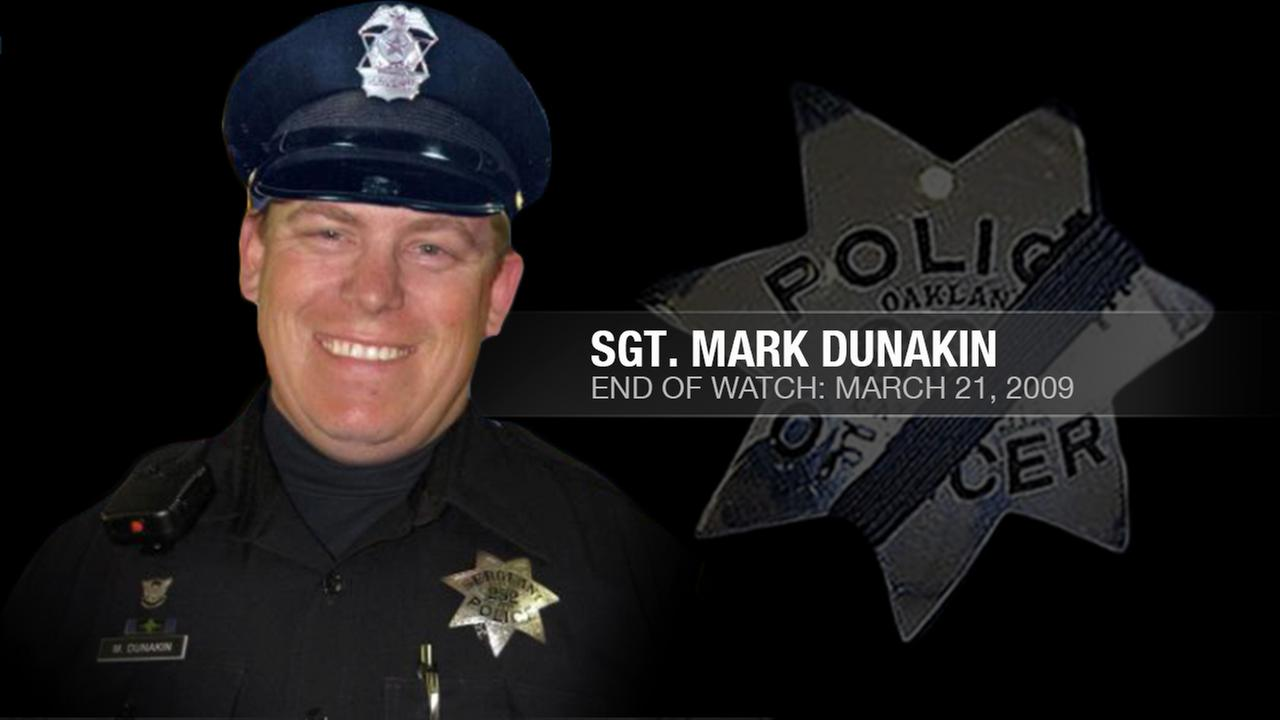 Sergeant Mark Dunakin, 40, was one of four Oakland police officers who were shot and killed by a wanted parolee in Oakland, Calif. on March 21, 2009KGO-TV