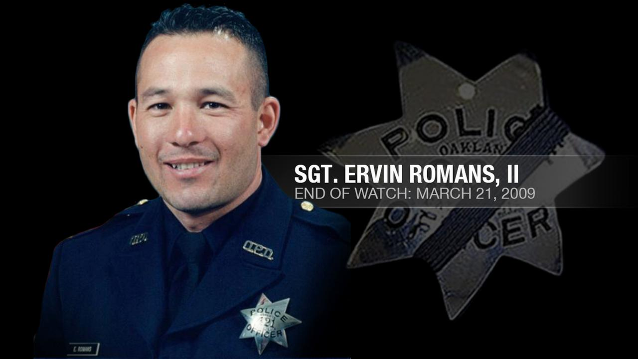 Sergeant Ervin Romans II, 43, was one of four Oakland police officers who were shot and killed by a wanted parolee in Oakland, Calif. on March 21, 2009KGO-TV