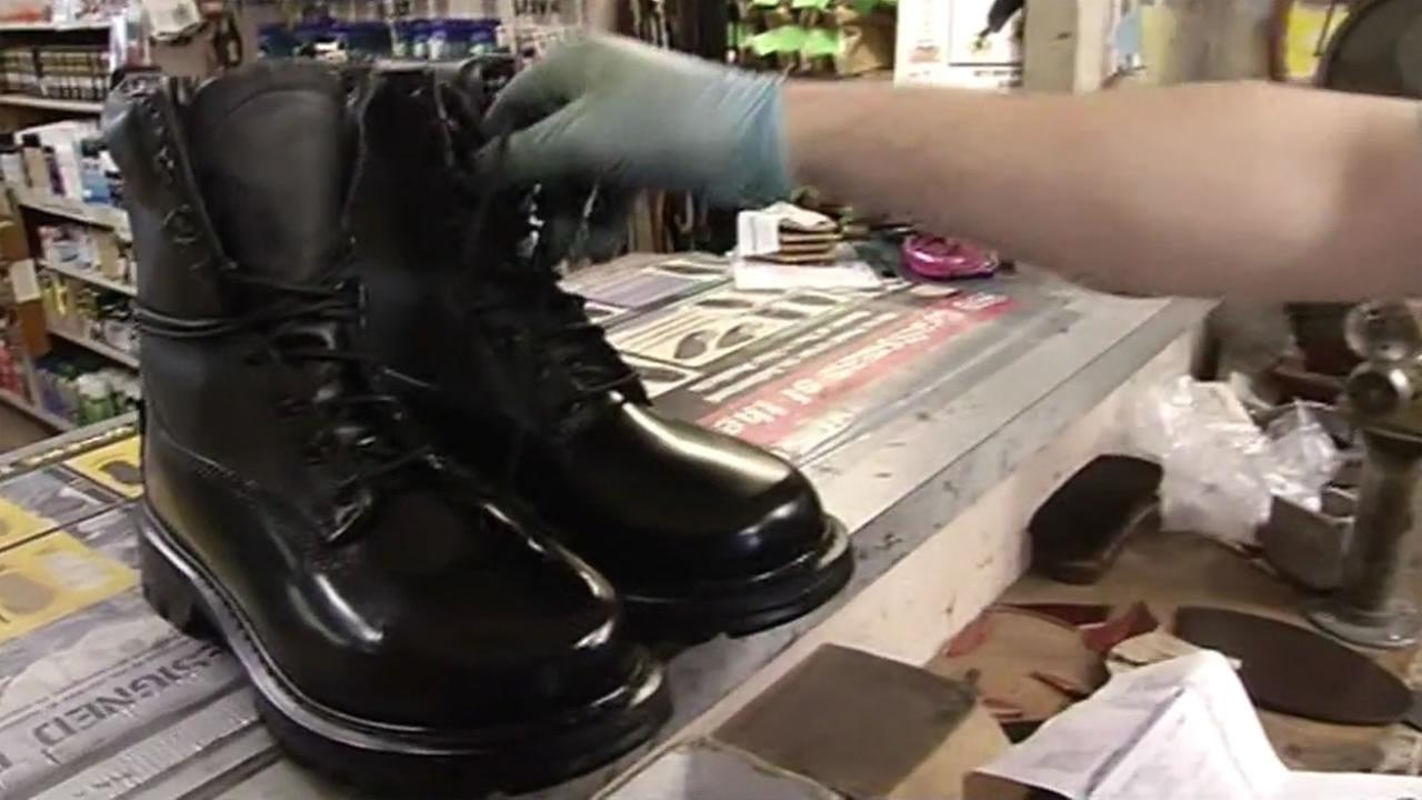 A pair of freshly shined pair of police boots at The Cobblers in Hayward, July 29, 2015.