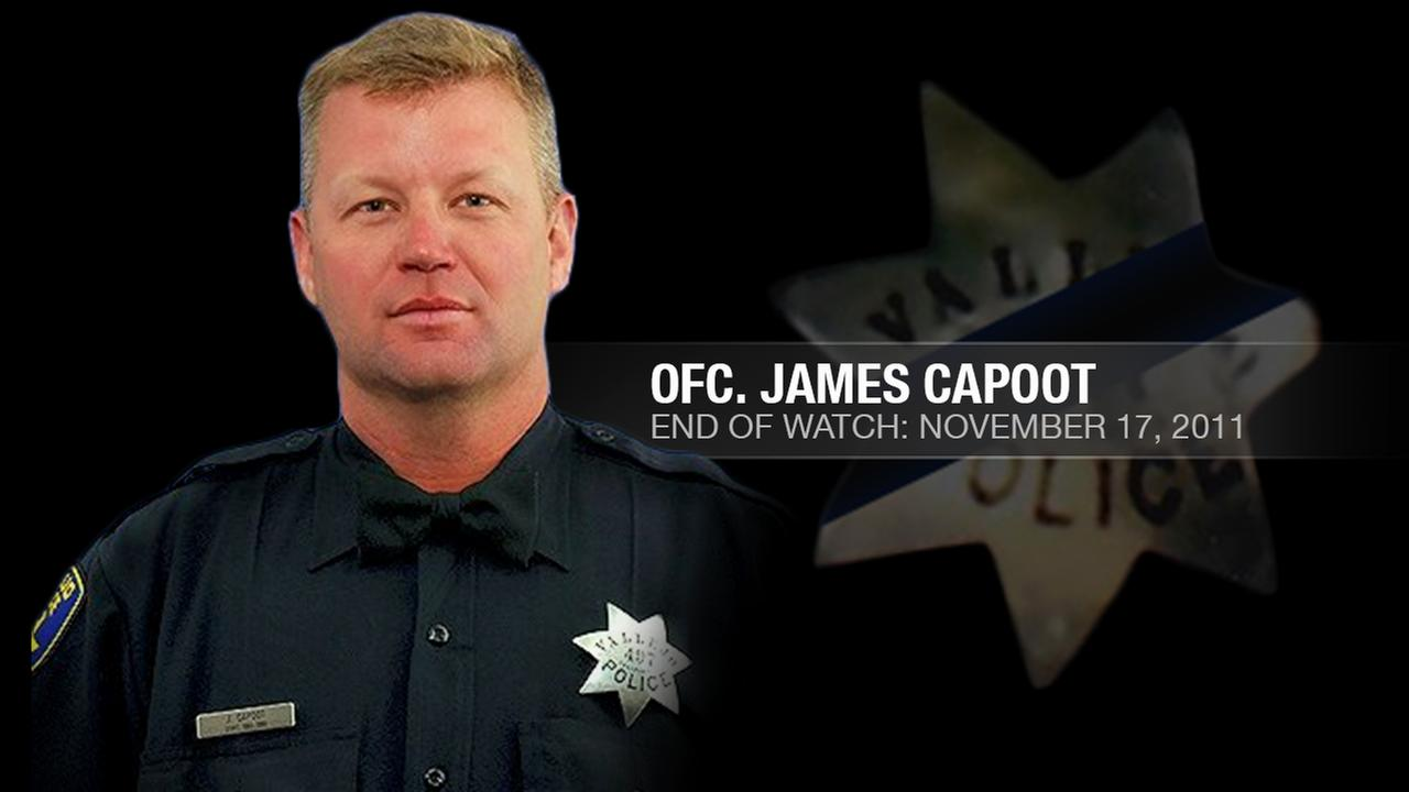 Vallejo Police Officer James Capoot, 45, was shot and killed while chasing a bank robbery suspect in Vallejo, Calif. on November 17, 2011.KGO-TV