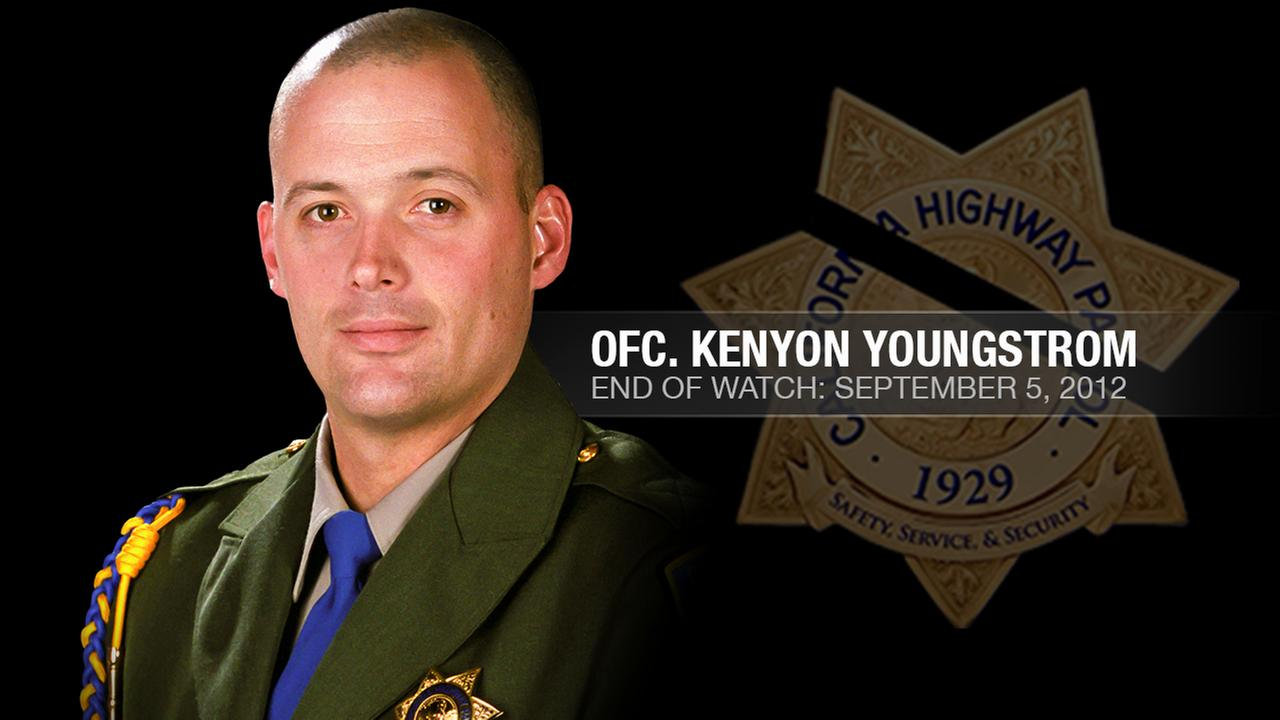 CHP Officer Kenyon Youngstrom, 37,  was shot and killed while conducting a traffic stop on I-680 in Alamo, Calif. on September 5, 2012.KGO-TV