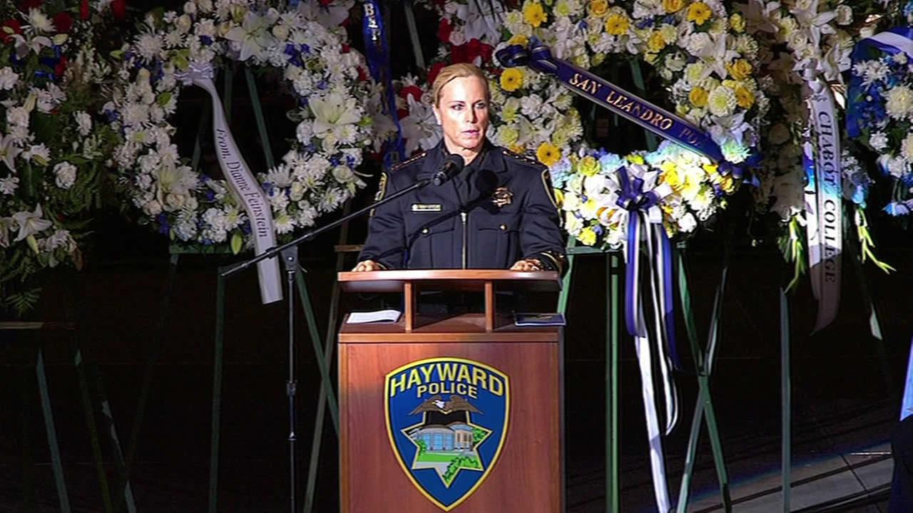 Hayward Police Chief Diane Urban spoke during a memorial for fallen Sgt. Scott Lunger at  Oracle Arena in Oakland, Calif. on Thursday, July 30, 2015.