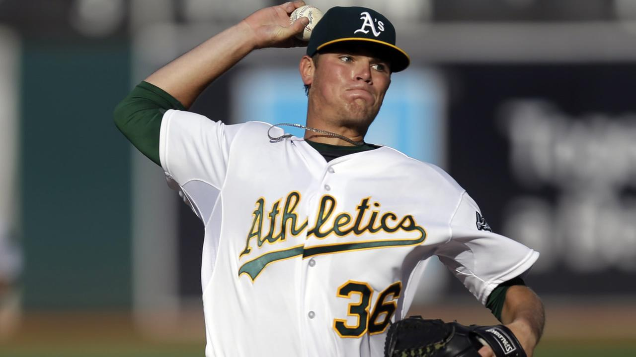 Oakland Athletics pitcher Aaron Brooks works against the Cleveland Indians in the first inning of a baseball game Saturday, Aug. 1, 2015, in Oakland, Calif. (AP Photo/Ben Margot)