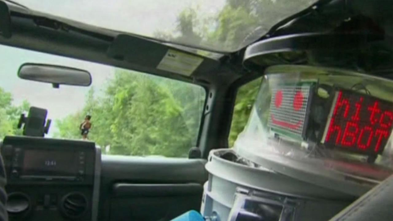 A hitchhiking robot had its cross-country trip cut short after someone damaged it beyond repair in Philadelphia on Saturday, August 1, 2015.