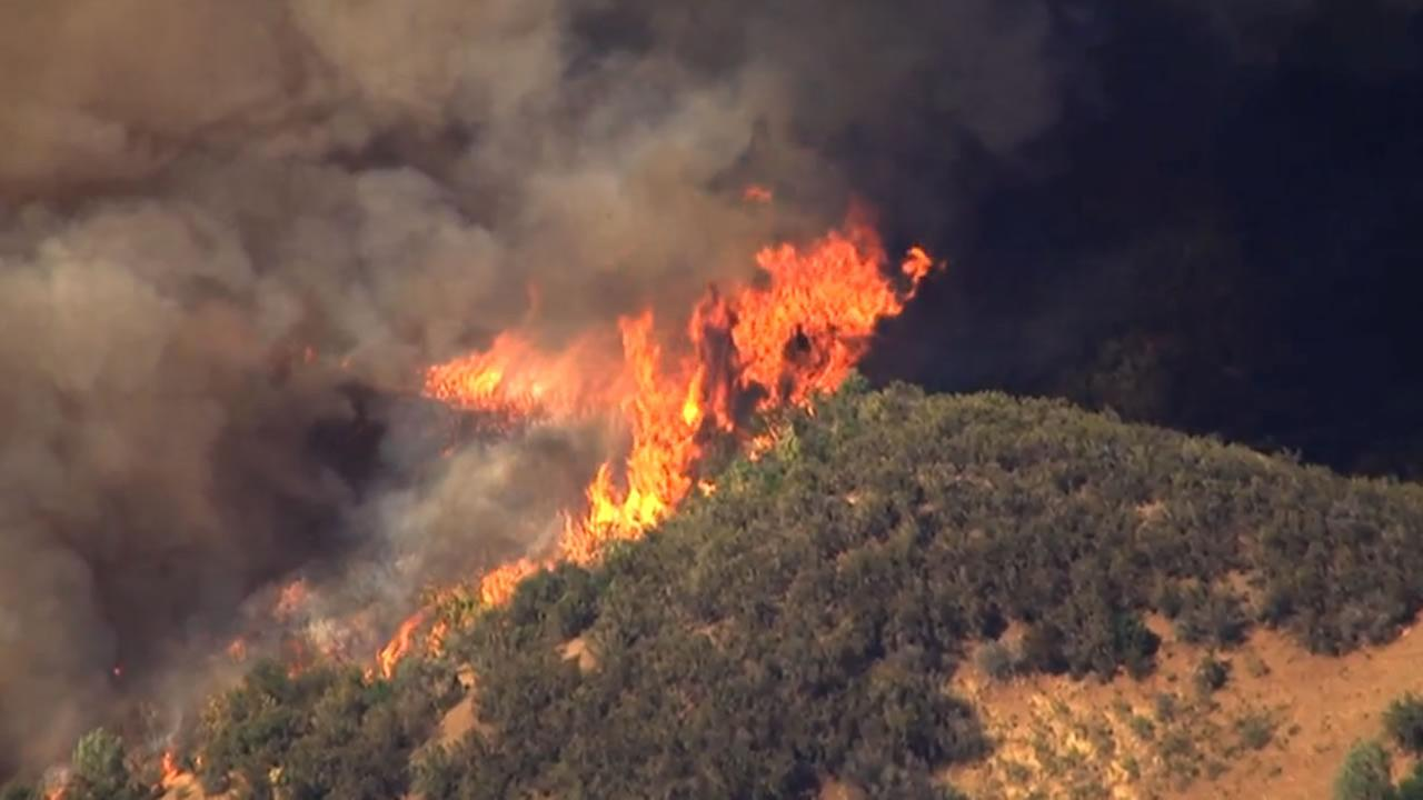 Sky7 HD shows the Rocky Fire thats burning in Lake County, Calif. near Clear Lake on Sunday, August 2, 2015.