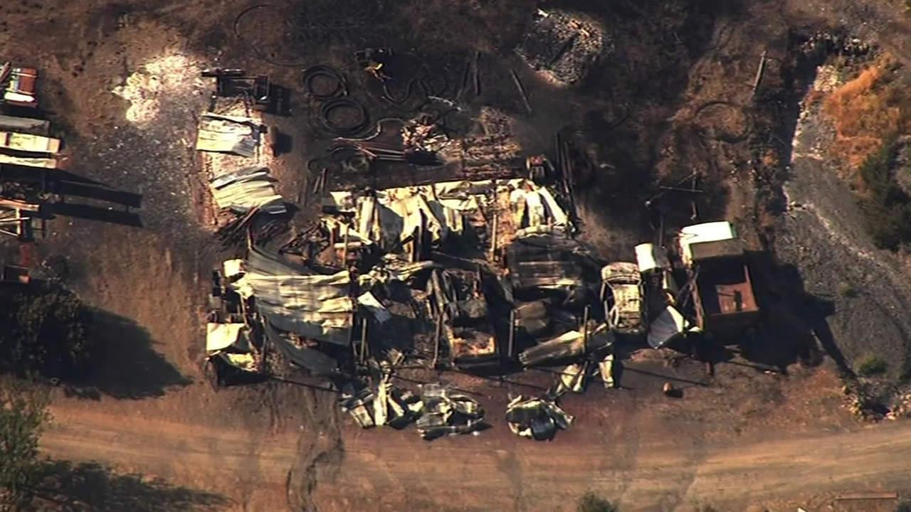 Sky7 HD shows a home that burned in the Rocky Fire in Lake County, Calif. near Clear Lake on Sunday, August 2, 2015.