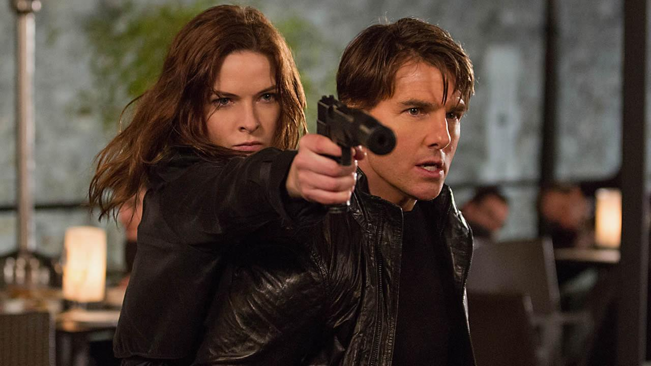 In this image released by Paramount Pictures, Rebecca Ferguson, left, and Tom Cruise appear in a scene from Mission: Impossible - Rogue Nation. (Chiabella James/Paramount Pictures and Skydance Productions via AP)