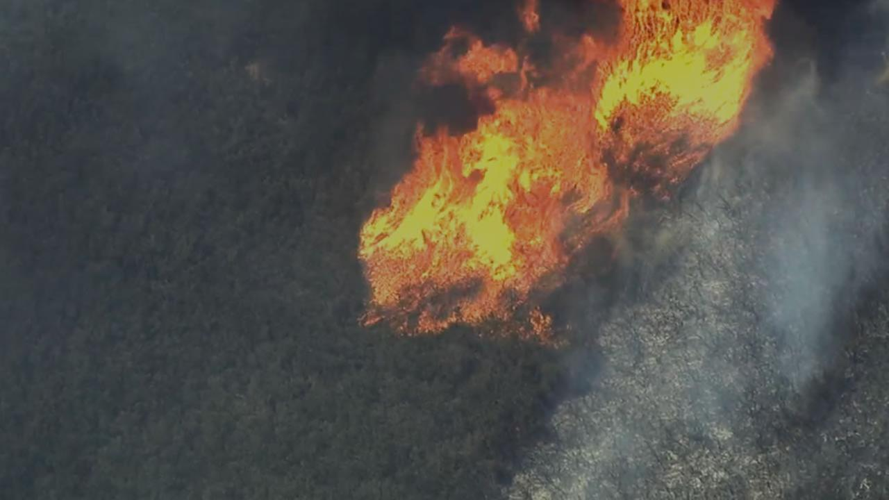 Sky7 HD shows the Rocky Fire thats burning in Lake County, Calif. near Clear Lake on Monday, August 3, 2015.