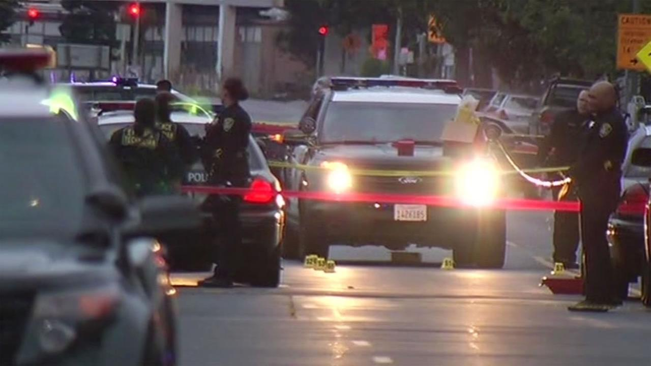 Oakland police investigated an officer-involved shooting August 3, 2015 that left a gunman dead and an officer injured.