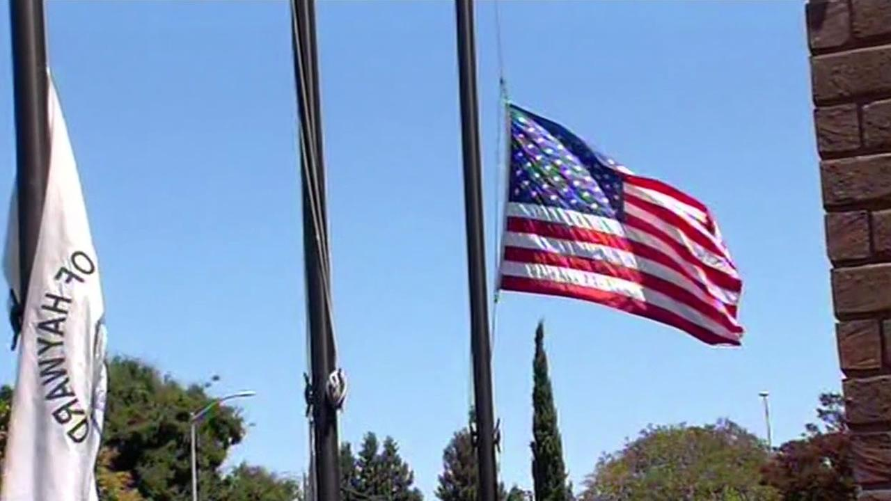 The U.S. Honor Flag flew for 15 hours at the Hayward Police Department in Hayward, Calif. on Monday, August 3, 2015 in honor of fallen Sgt. Scott Lunger.
