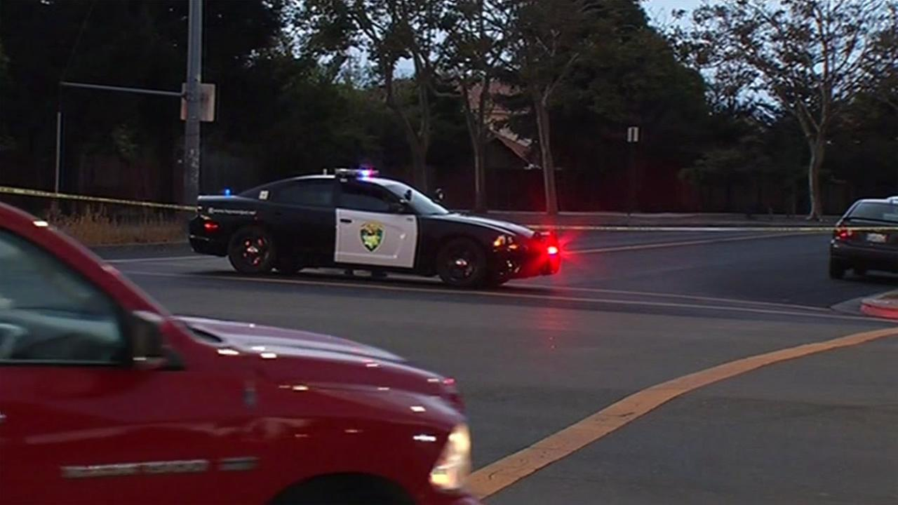 Police investigate a shooting in Hayward, Calif. on Tuesday, August 4, 2015.