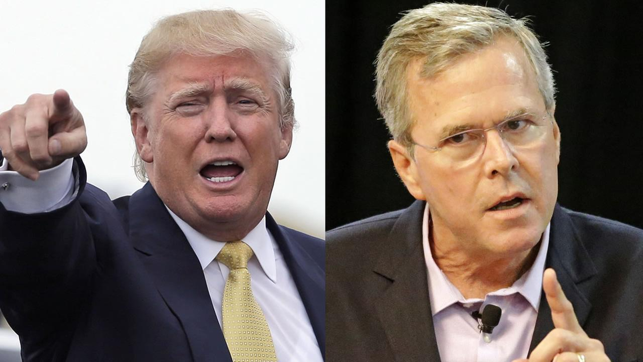 Republican presidential candidates Donald Trump and Jeb Bush.