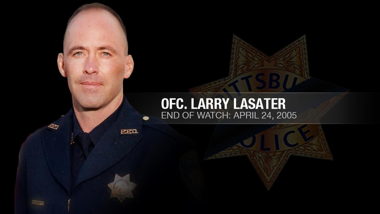 Officer Larry Lasater succumbed to gunshot wounds sustained the previous day while attempting to arrest robbery suspects in Pittsburg, Calif. on Sunday, April 24, 2005.KGO-TV