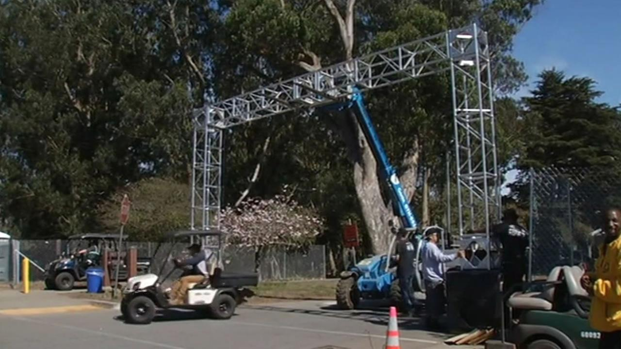 Preparations are underway for the Outside Lands Music Festival in San Franciscos Golden Gate Park, which kicks off on Friday, August 7, 2015.