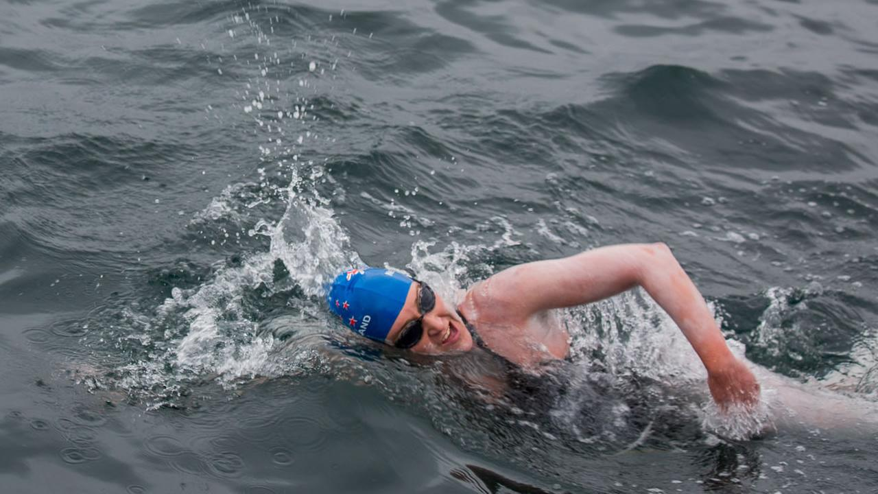 San Francisco swimmer Kim Chambers swims from the Farallones to the Golden Gate Bridge, August 8, 2015.