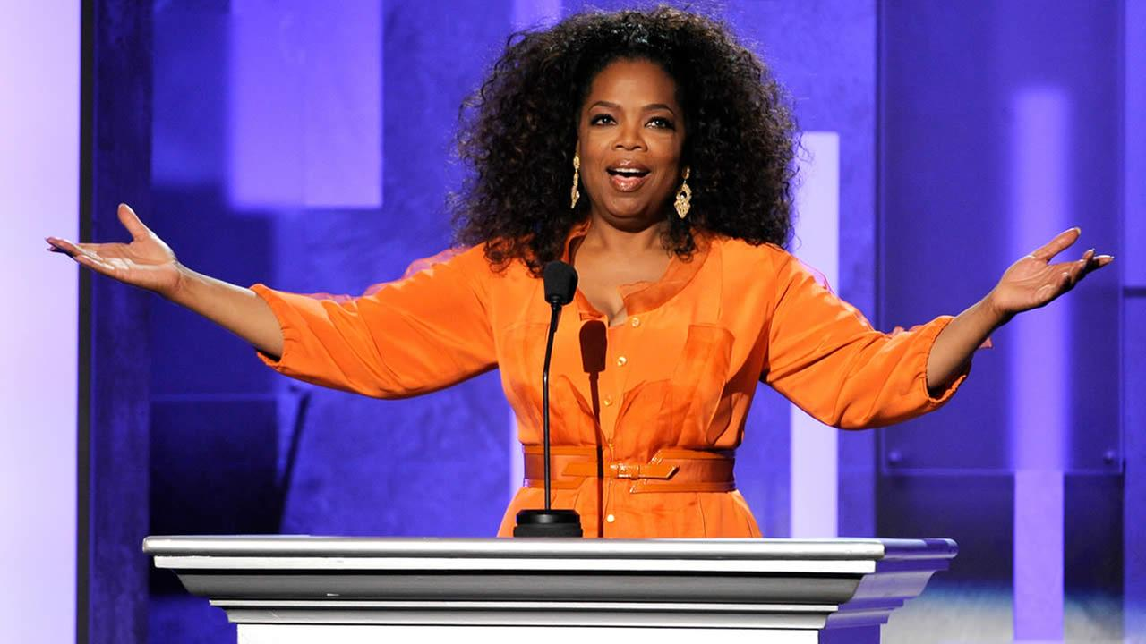 Oprah Winfrey speaks on stage at the 45th NAACP Image Awards at the Pasadena Civic Auditorium on Saturday, Feb. 22, 2014, in Pasadena, Calif. (Photo by Chris Pizzello/Invision/AP)
