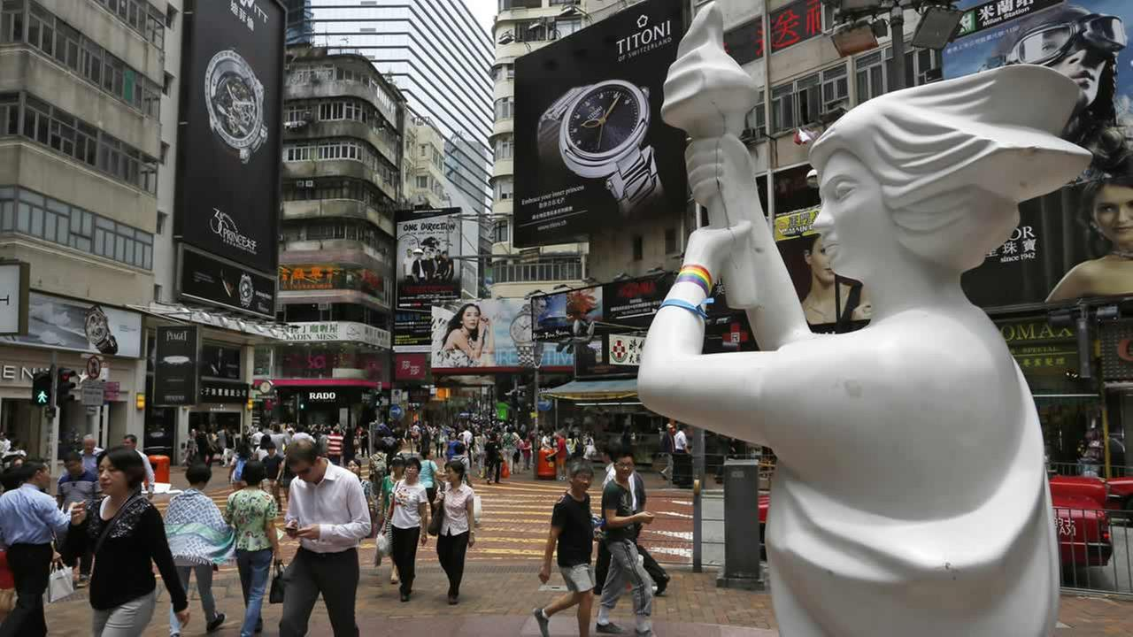 A statue of the Goddess of Democracy, which symbolizes the 1989 pro-democracy movement in Beijing, is displayed in Hong Kong, Tuesday, June 3, 2014. (AP Photo/Vincent Yu)